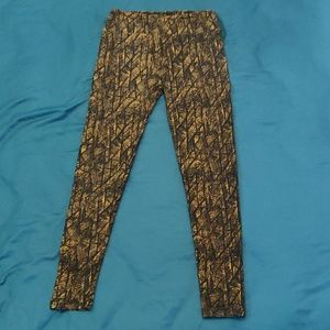 OS leggings LLR black and gold/yellow